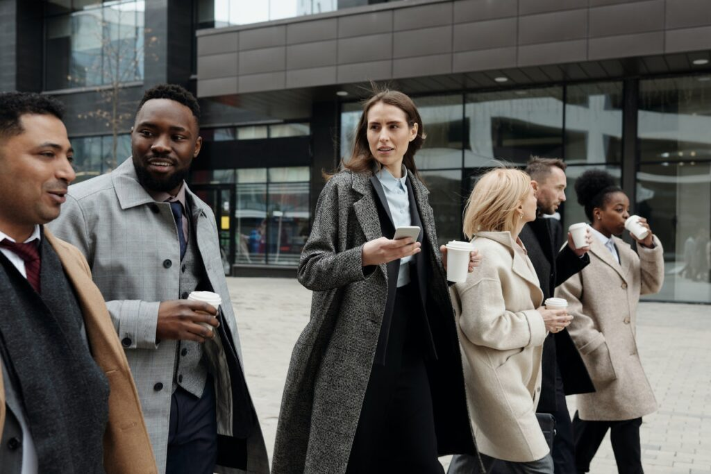 group of business people walking