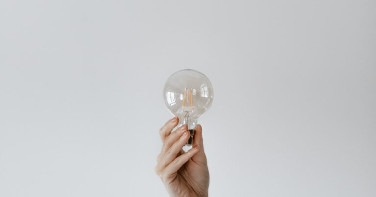 Hand holding up bulb